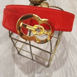 NWOT Lord & Taylor Red Suede Leather Belt